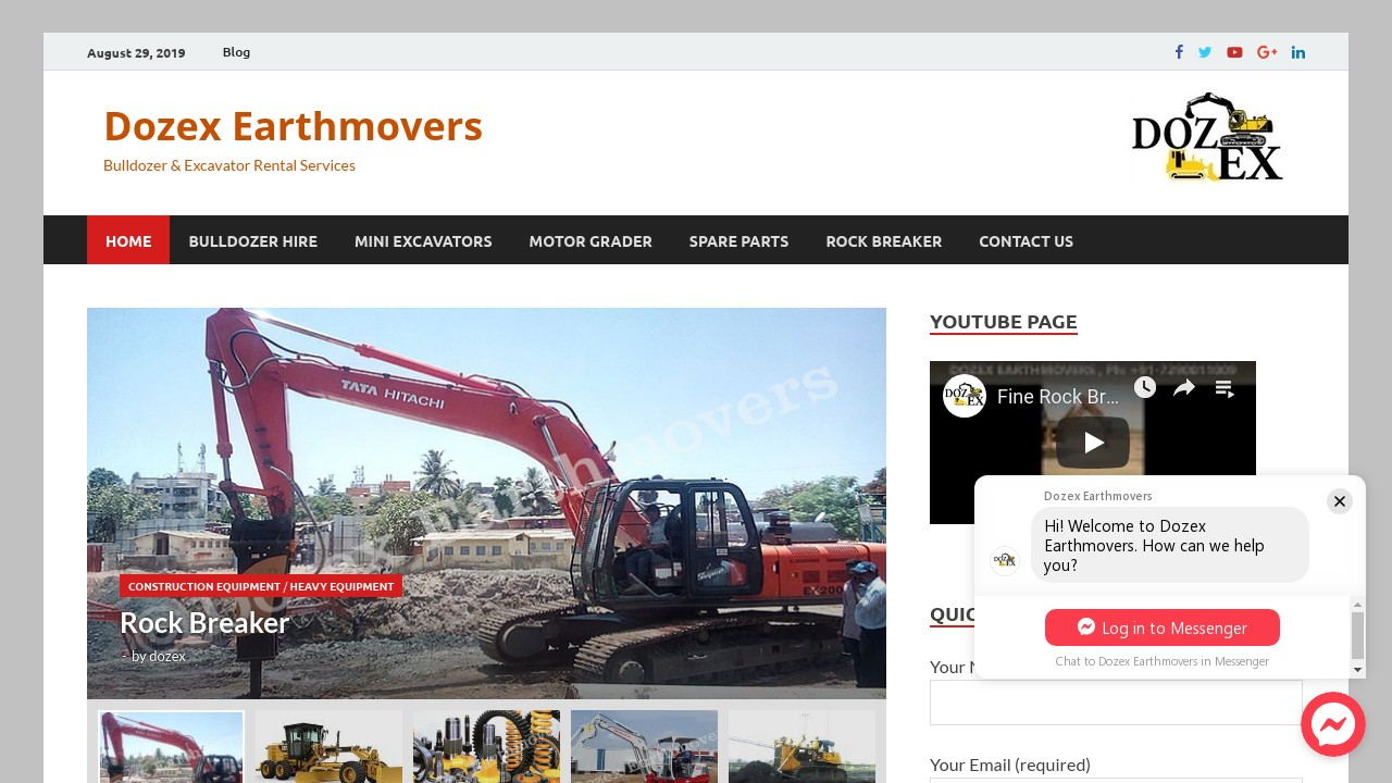 Dozex Earthmovers, Dealer of Excavator, Rock breaker and Motor Grader