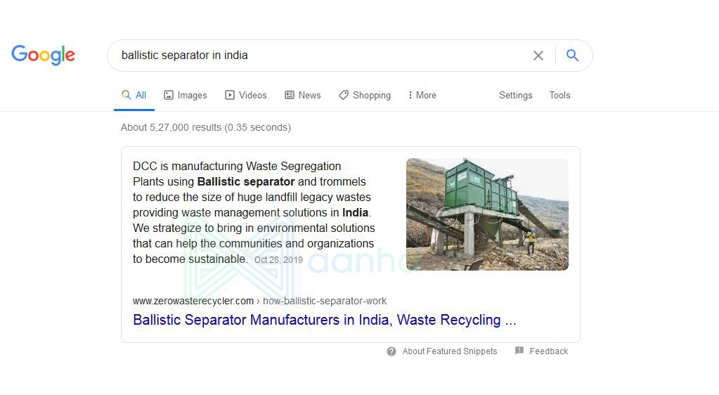 Featured Snippets - Ballistic Separator in India